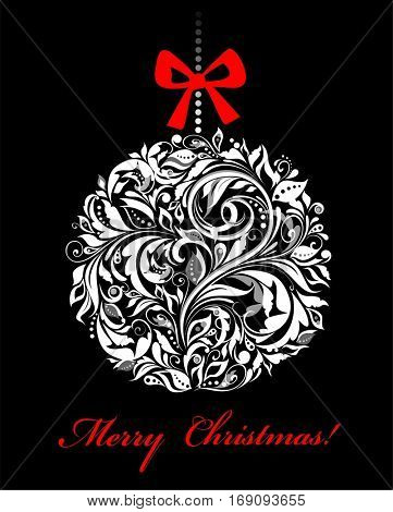 Vintage xmas black and white greeting card with hanging floral ball