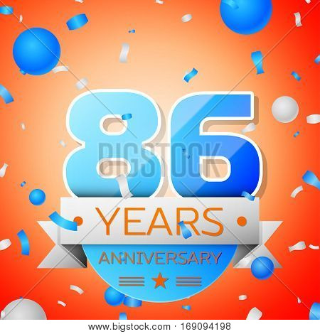 Eighty six years anniversary celebration on orange background. Anniversary ribbon