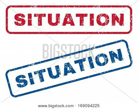 Situation text rubber seal stamp watermarks. Vector style is blue and red ink tag inside rounded rectangular shape. Grunge design and dirty texture. Blue and red emblems.