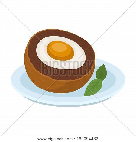 Scotch eggs icon in cartoon design isolated on white background. Scotland country symbol stock vector illustration.