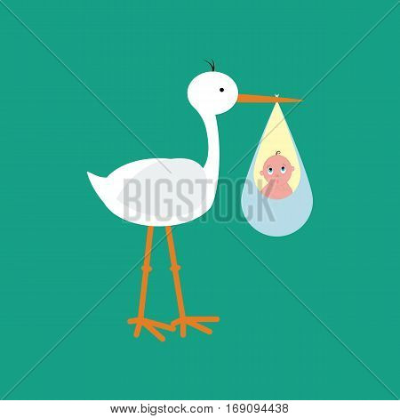 Stork brought the baby on the green background. Vector illustration