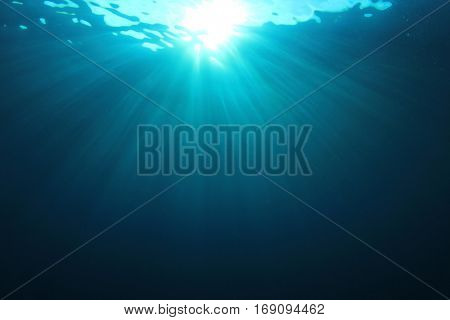 Underwater background in ocean with sunlight