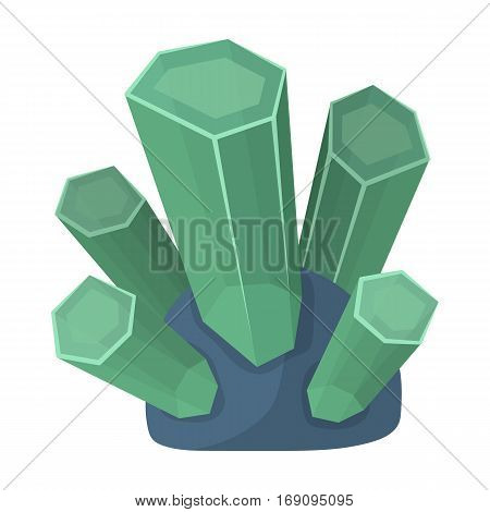 Green natural minerals icon in cartoon design isolated on white background. Precious minerals and jeweler symbol stock vector illustration.