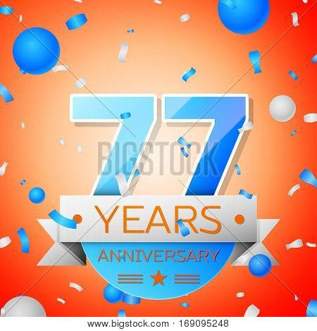 Seventy seven years anniversary celebration on orange background. Anniversary ribbon