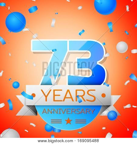 Seventy three years anniversary celebration on orange background. Anniversary ribbon