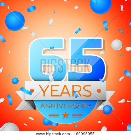 Sixty five years anniversary celebration on orange background. Anniversary ribbon