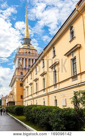ST.PETERSBURG RUSSIA - JULY 31 2016: The Admiralty building against the blue sky in St. Petersburg Russia. Built in 1823