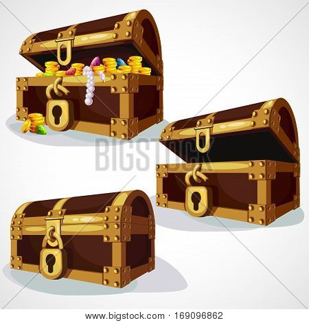Set cartoon pirate coffer with treasure and gold
