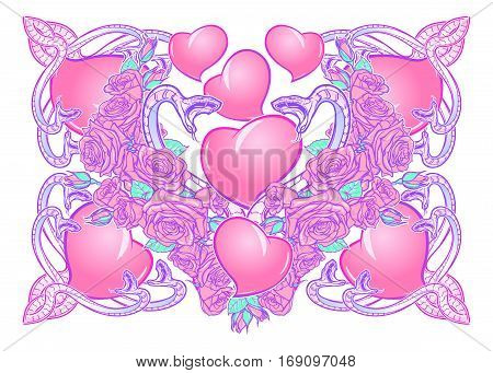 Roses hearts water swirls and snakes arranged in an intricate square pattern. St Valentine's day festive design isolated on white background. Tattoo or wedding decoration design element. EPS 10 vector
