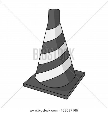 Traffic cone icon in monochrome design isolated on white background. Architect symbol stock vector illustration.