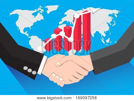 Businessman handshaking Business Deal Business Partnership Graph world background