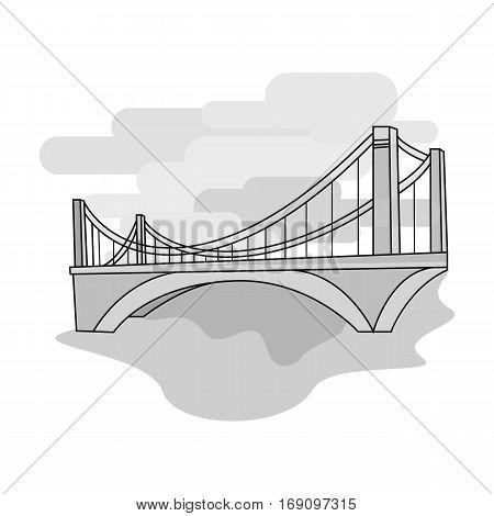 Bridge icon in monochrome design isolated on white background. Architect symbol stock vector illustration.