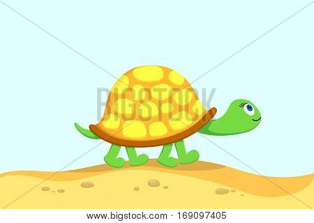 Vector illustration of turtle going for a walk on a beach