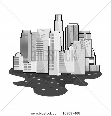 Megalopolis icon in monochrome design isolated on white background. Architect symbol stock vector illustration.