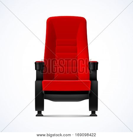 Cinema movie theater red comfortable chair, vector illustration