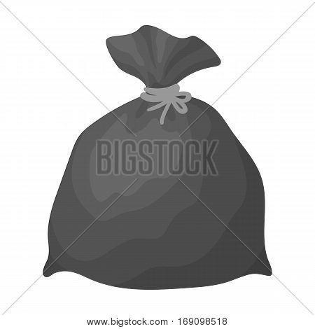 Garbage bag icon in monochrome design isolated on white background. Cleaning symbol stock vector illustration.