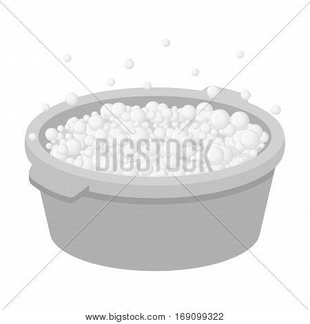 Basin with soap suds and water icon in monochrome design isolated on white background. Cleaning symbol stock vector illustration.