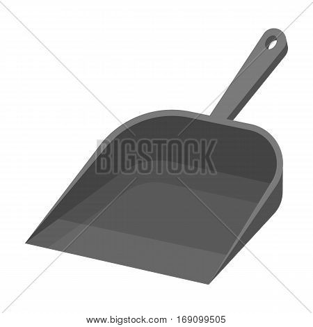 Dustpan icon in monochrome design isolated on white background. Cleaning symbol stock vector illustration.