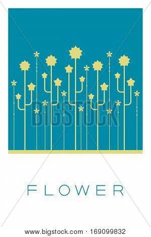 Vector Minimal Poster: Flower Illustration Retro Background