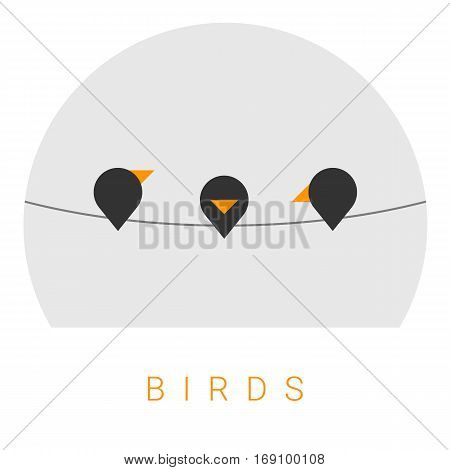 Vector Minimal Poster: Birds Retro Illustration Background