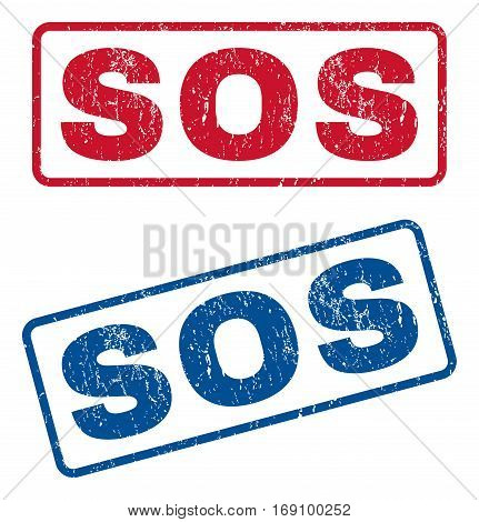 Sos text rubber seal stamp watermarks. Vector style is blue and red ink caption inside rounded rectangular banner. Grunge design and dust texture. Blue and red stickers.