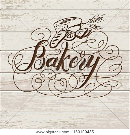 Bakery. Handwritten inscription. Hand drawn calligraphy lettering typography badge. It can be used for signage, logos, branding, product launches.