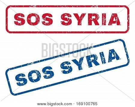Sos Syria text rubber seal stamp watermarks. Vector style is blue and red ink caption inside rounded rectangular banner. Grunge design and unclean texture. Blue and red signs.