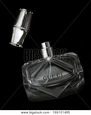 SWINDON UK -FEBRUARY 6 2017: Gucci Bamboo Perfume bottle on a black background