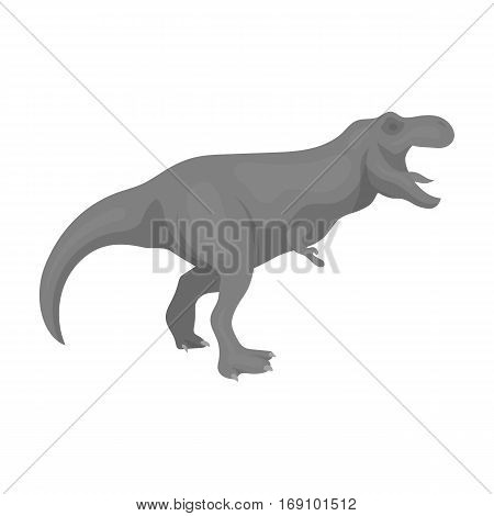 Dinosaur Tyrannosaurus icon in monochrome design isolated on white background. Dinosaurs and prehistoric symbol stock vector illustration.