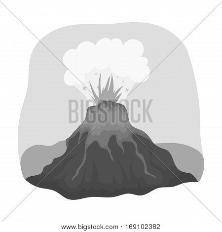Volcano eruption icon in monochrome design isolated on white background. Dinosaurs and prehistoric symbol stock vector illustration.