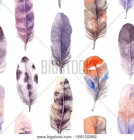 Seamless Pattern. Hand Drawn Illustration - Background Of Watercolor Feathers. Aquarelle Boho Set. I