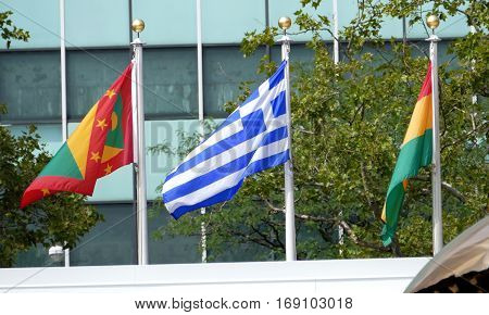New York United States. September 22nd 2016 - International Flags in the front of United Nations Headquarter in New York