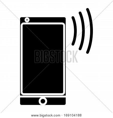 a simple flat black cellphone icon vector