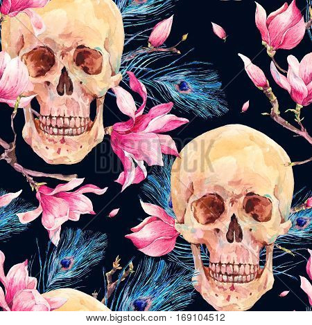 Vintage watercolor natural seamless pattern with human skull and pink flowers Magnolia, peacock feathers. Hand drawn illustration isolated on white background