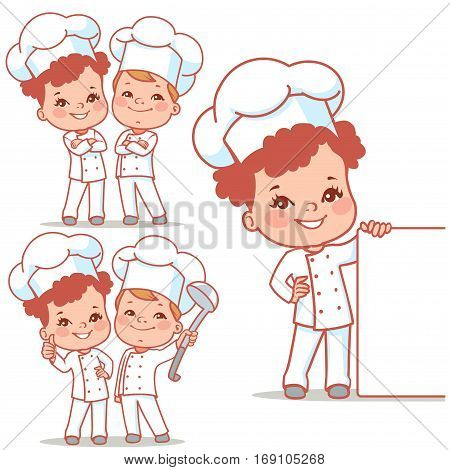 Cartoon kids as little chefs. Cute boy and girl as cooks. Happy children wearing chef hat. Smiling girl holding menu. Blank text banner. Vector illustration isolated on white background.