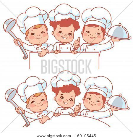 Cartoon kids as little chefs. Cute boys and girl wearing chef hat. Smiling kids hold text frame. Kid's menu design. Blank text banner. Vector illustration isolated on white background.