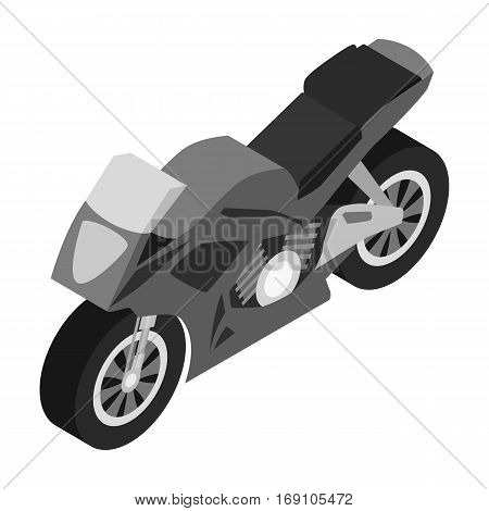 Motorcycle icon in monochrome design isolated on white background. Transportation symbol stock vector illustration.