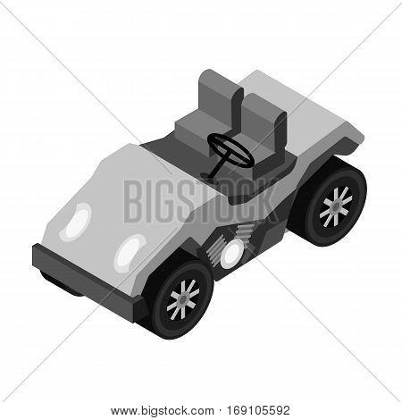 Golf cart icon in monochrome design isolated on white background. Transportation symbol stock vector illustration.
