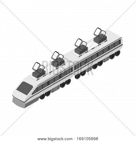 Train icon in monochrome design isolated on white background. Transportation symbol stock vector illustration.