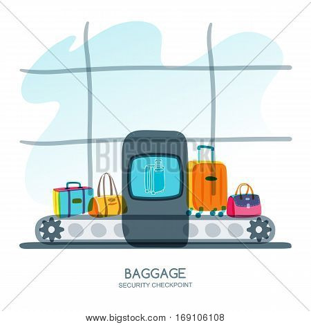 Baggage Security Checkpoint In Airport Terminal. Vector Hand Drawn Illustration.