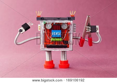 Handyman ready for work. Serviceman robot character with red pliers. Violet background photo