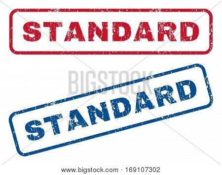 Standard text rubber seal stamp watermarks. Vector style is blue and red ink caption inside rounded rectangular banner. Grunge design and unclean texture. Blue and red signs.