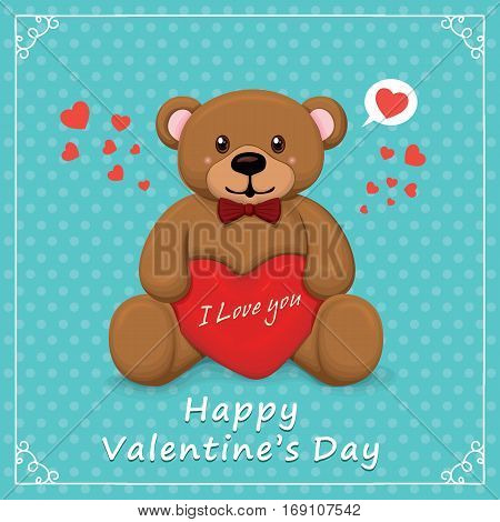 Vintage Valentines Day poster design with bear