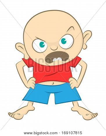Angry Little Boy. Vector Illustration Of An Angry Little Boy.