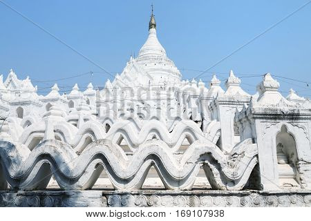 The white pagoda of Hsinbyume Mya Thein Dan pagoda paya temple Mingun Mandalay - Myanmar
