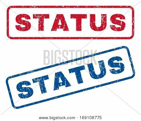 Status text rubber seal stamp watermarks. Vector style is blue and red ink caption inside rounded rectangular banner. Grunge design and unclean texture. Blue and red stickers.