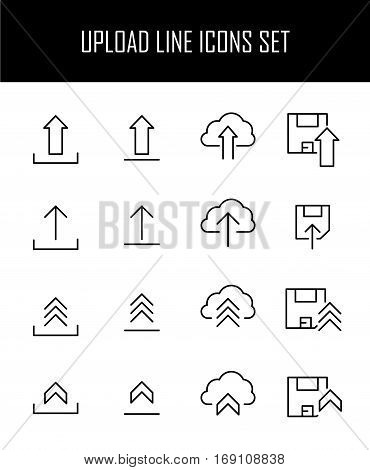 Set of upload icons in modern thin line style. High quality black outline symbols for web site design and mobile apps. Simple upload pictograms on a white background.