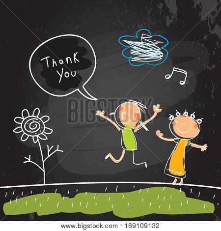 Kids thank you card vector illustration. Sketch, scribble style doodle, chalk on blackboard vector illustration.