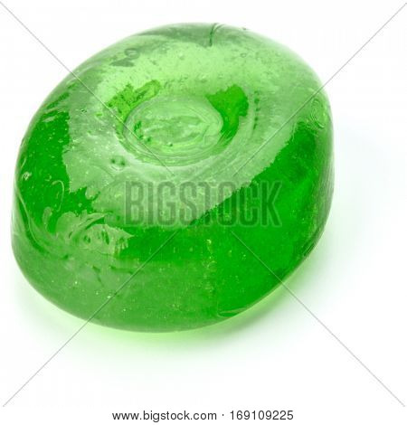 One fruit hard sugar candy,  boiled sweet or sugar plum isolated on white background cutout.