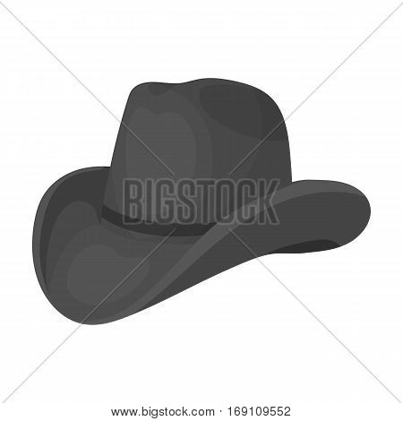 Cowboy hat icon in monochrome design isolated on white background. Rodeo symbol stock vector illustration.